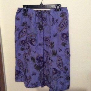 Habitat skirt linen blue floral elastic waistband